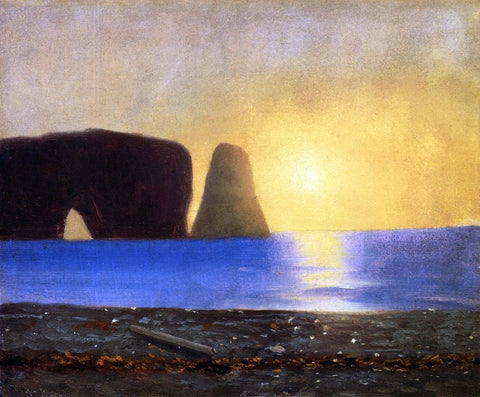 William Bradford The Sun Sets, Perce Rock, Gaspe, Quebec - Hand Painted Oil Painting