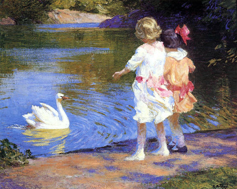 Edward Potthast A Swan - Hand Painted Oil Painting