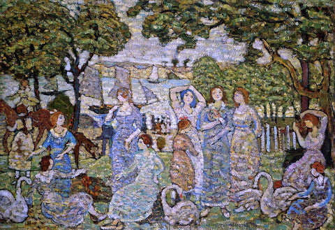 Maurice Prendergast The Swans - Hand Painted Oil Painting