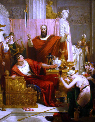 Richard Westall The Sword of Damocles - Hand Painted Oil Painting
