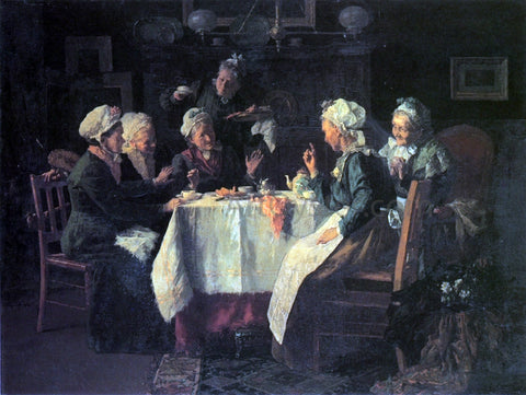 Louis C Moeller The Tea Party - Hand Painted Oil Painting