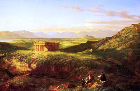Clement Pujol De Guastavino The Temple of Segesta with the Artist Sketching - Hand Painted Oil Painting