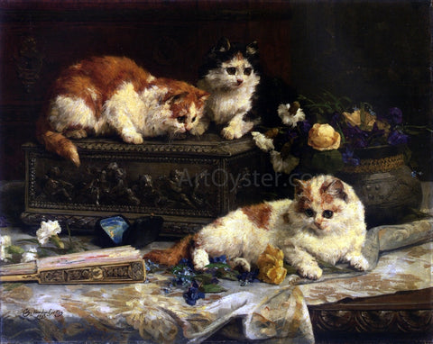 Charles Van den Eycken The Three Kittens - Hand Painted Oil Painting