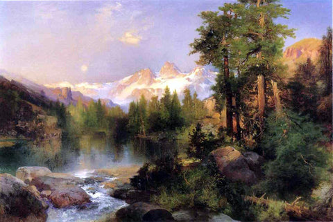 Thomas Moran The Three Tetons - Hand Painted Oil Painting