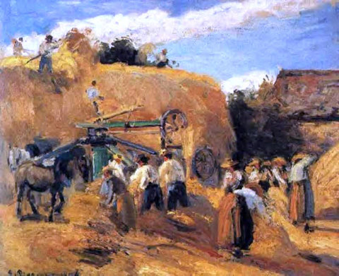 Camille Pissarro The Threshing Machine - Hand Painted Oil Painting