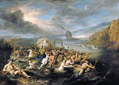 II Frans Francken The Triumph of Neptune and Amphitrite - Hand Painted Oil Painting