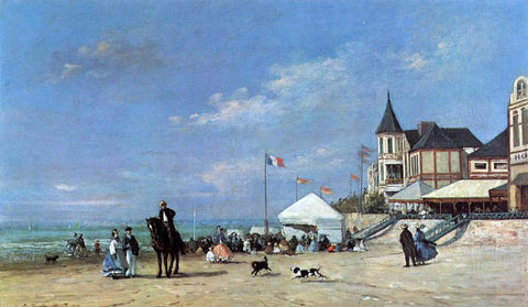 Eugene-Louis Boudin The Trouville Beach - Hand Painted Oil Painting