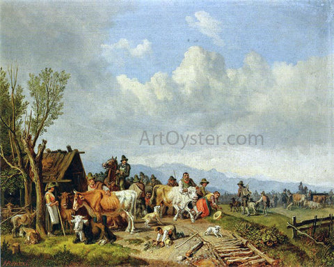 Heinrich Burkel The Village Cattle Market - Hand Painted Oil Painting