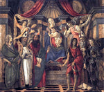 Sandro Botticelli The Virgin and Child with Four Angels and Six Saints (Pala di San Barnaba) - Hand Painted Oil Painting