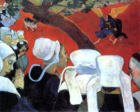 Paul Gauguin The Vision After the Sermon (also known as Jacob Wrestling the Angel) - Hand Painted Oil Painting