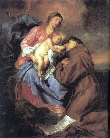 Sir Antony Van Dyck The Vision of St Anthony - Hand Painted Oil Painting