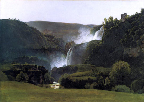 Johann Martin Von Rohden The Waterfalls of Tivoli - Hand Painted Oil Painting