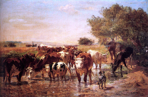 Giuseppe Palizzi The Watering Hole - Hand Painted Oil Painting