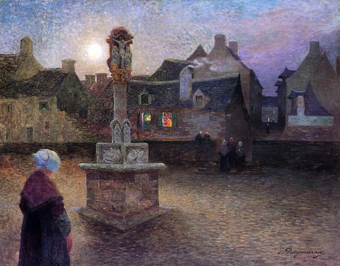 Ferdinand Du Puigaudeau The Wayside Cross at Rochefort-en-Terre (also known as Evening Service) - Hand Painted Oil Painting