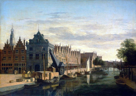 Gerrit Adriaensz Berckheyde The Weigh-House and Crane on the Spaarne at Haarlem - Hand Painted Oil Painting