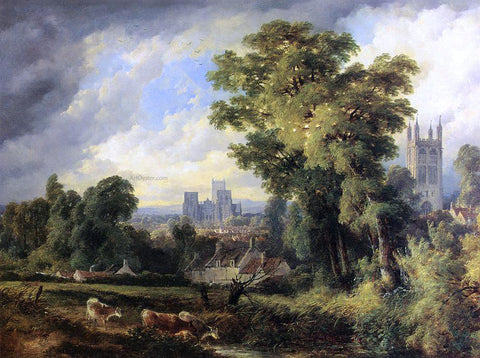 John Syer The West Front of Wells Cathedral with St. Cuthert's Church in the Fourground - Hand Painted Oil Painting