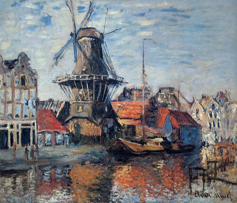 Claude Oscar Monet The Windmill on the Onbekende Canal, Amsterdam - Hand Painted Oil Painting