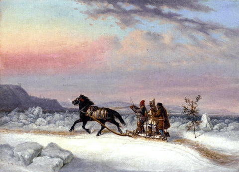 Cornelius Krieghoff The Winter Crossing from Levis to Quebec - Hand Painted Oil Painting