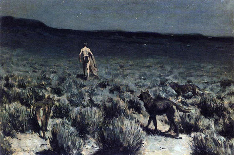 Frederic Remington The Wolves Sniffed Along on the Trail, but Came No Closer - Hand Painted Oil Painting