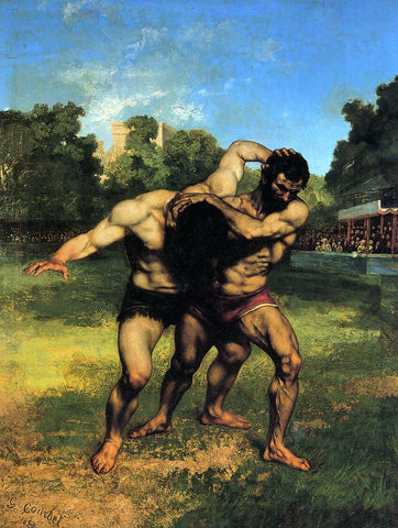 Gustave Courbet The Wrestlers - Hand Painted Oil Painting