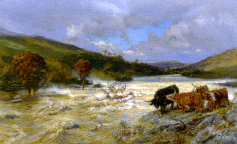 Henry William BanksDavis The Wye in Flood - Hand Painted Oil Painting