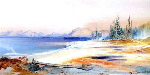 Thomas Moran The Yellowstone Lake with Hot Springs - Hand Painted Oil Painting