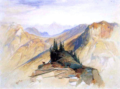 Thomas Moran The Yellowstone Range, near Fort Ellis - Hand Painted Oil Painting