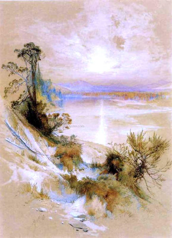 Thomas Moran The Yellowstone River, at its Exit from the Yellowstone Lake - Hand Painted Oil Painting