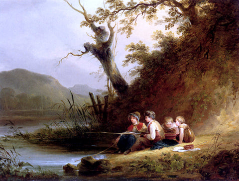 Senior William Shayer The Young Anglers - Hand Painted Oil Painting