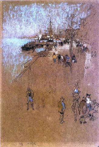James McNeill Whistler The Zattere; Harmony in Blue and Brown - Hand Painted Oil Painting