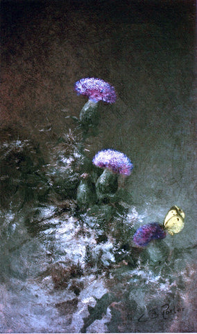 Charles Ethan Porter Thistles with Butterfly - Hand Painted Oil Painting