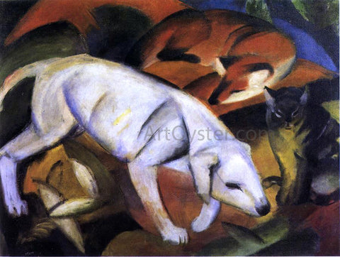 Franz Marc Three Animals (Dog, Fox and Cat) - Hand Painted Oil Painting