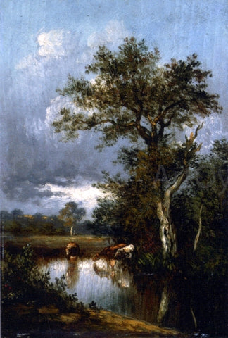 Jules Dupre Three Cows at a Watering Hole - Hand Painted Oil Painting