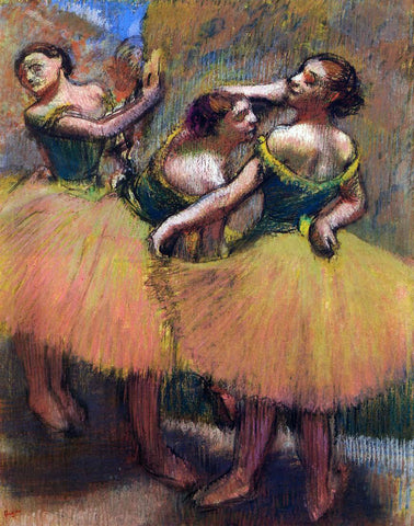 Edgar Degas Three Dancers, Green Blouses - Hand Painted Oil Painting