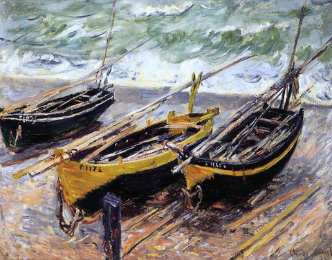 Claude Oscar Monet Three Fishing Boats - Hand Painted Oil Painting