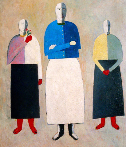 Kazimir Malevich Three Girls - Hand Painted Oil Painting