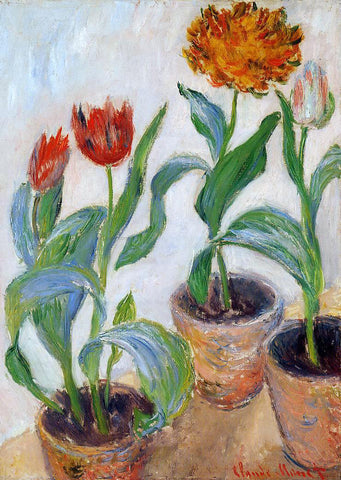 Claude Oscar Monet Three Pots of Tulips - Hand Painted Oil Painting