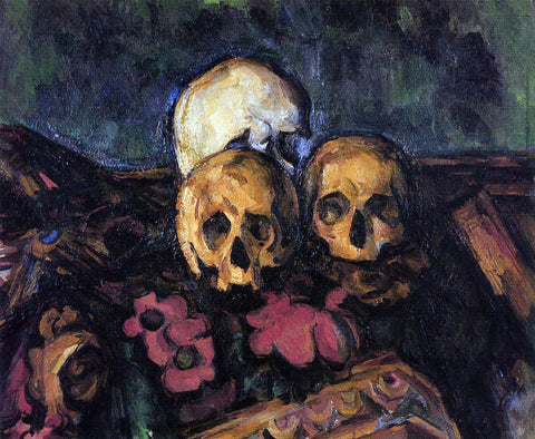 Paul Cezanne Three Skulls on a Patterned Carpet - Hand Painted Oil Painting