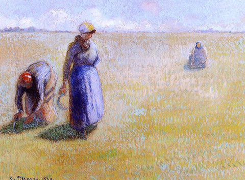 Camille Pissarro Three Women Cutting Grass - Hand Painted Oil Painting