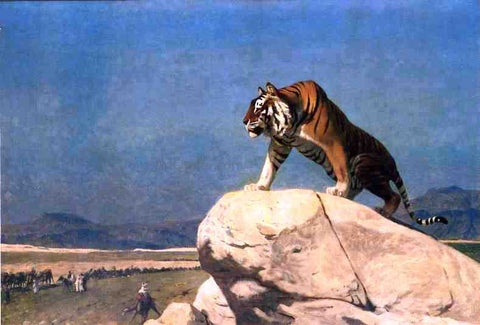 Jean-Leon Gerome Tiger on the Lookout - Hand Painted Oil Painting