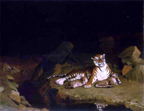 Jean-Leon Gerome Tigress and Her Cubs - Hand Painted Oil Painting