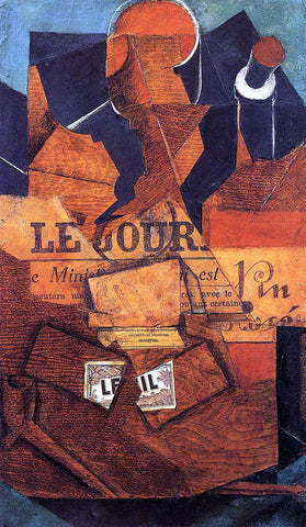 Juan Gris Tobacco, Newspaper and Bottle of Wine - Hand Painted Oil Painting