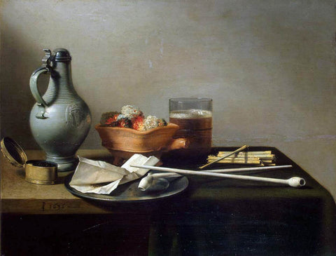 Pieter Claesz Tobacco Pipes and a Brazier - Hand Painted Oil Painting