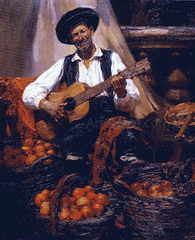 Jose Benlliure Gil Tocando la Guitarra - Hand Painted Oil Painting