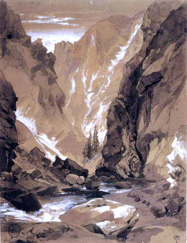 Thomas Moran Toltec Gorge, Colorado - Hand Painted Oil Painting