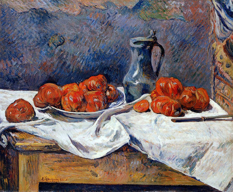 Paul Gauguin Tomatoes and a Pewter Tankard on a Table - Hand Painted Oil Painting
