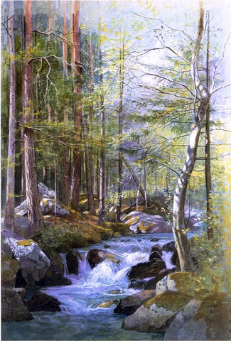 William Stanley Haseltine Torrent in Wood behind Mill Dam, Vahrn near Brixen, Tyrol - Hand Painted Oil Painting