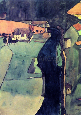 Egon Schiele Town on the Blue River - Hand Painted Oil Painting