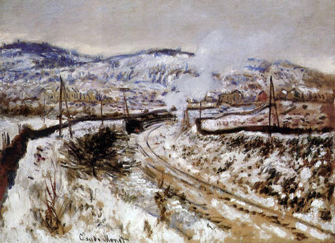 Claude Oscar Monet Train in the Snow, Argenteuil - Hand Painted Oil Painting