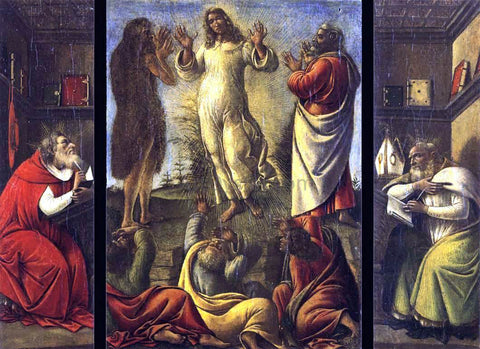 Sandro Botticelli Transfiguration, St Jerome, St Augustine - Hand Painted Oil Painting
